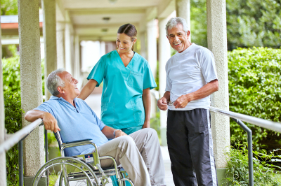 seniors talking to a caregiver